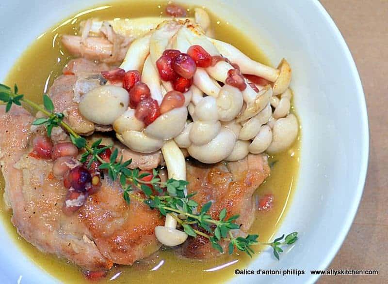 poulet sauce au vin blanc et grenade arilles