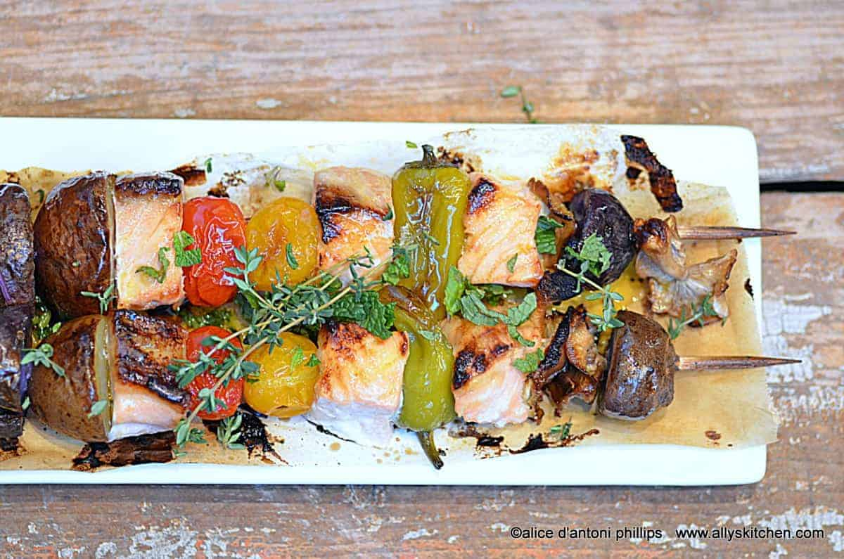 citrus drenched salmon skewers