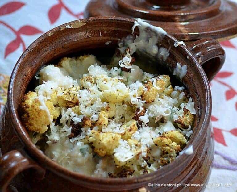 roasted cauliflower gruyere parmesan béchamel sauce