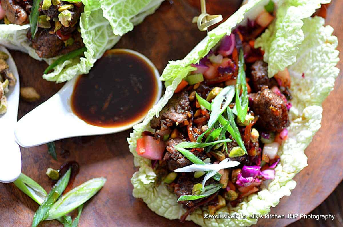 North African Spiced Beef Ribeye Wraps with Crunchy Confetti Slaw & Carrot Marmalade Soy Sauce