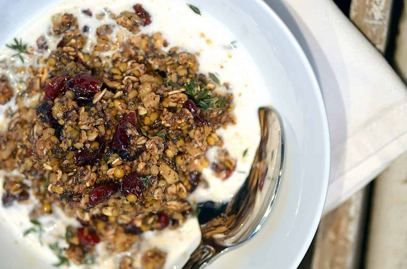 lentil walnut cranberry museli with honey & fresh thyme