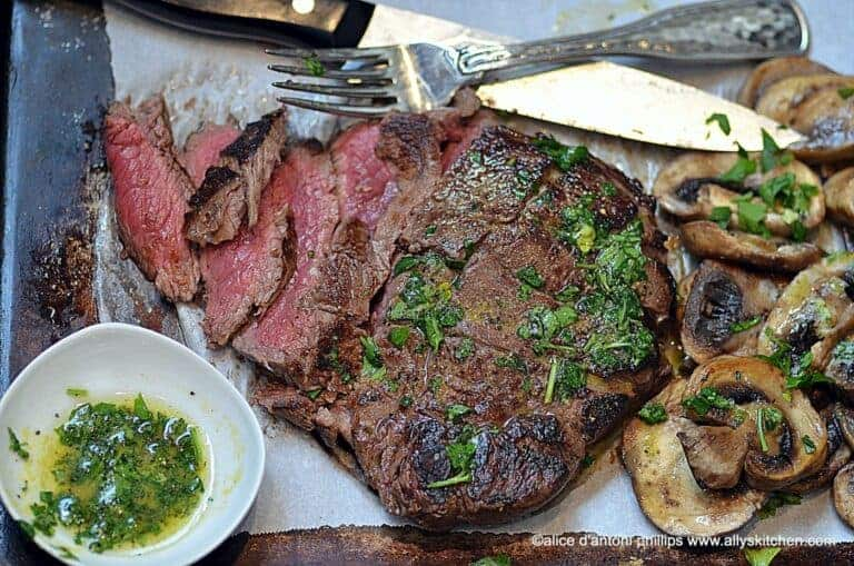 steak au poivre lemon butter herb sauce
