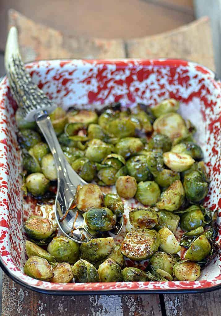 brussels sprouts with a ruby red honey ginger soy glaze
