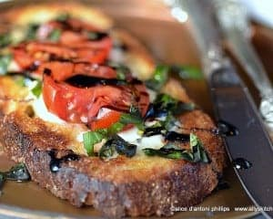 caprese open face sandwich