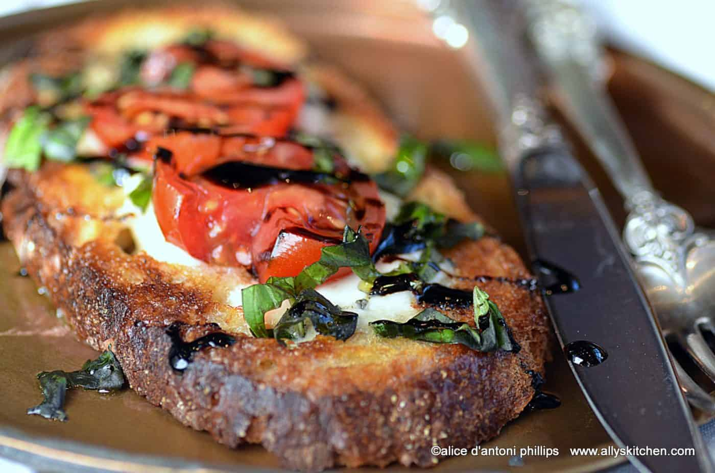 caprese open face sandwich