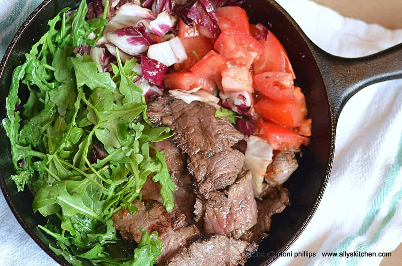 warm skillet steak salad