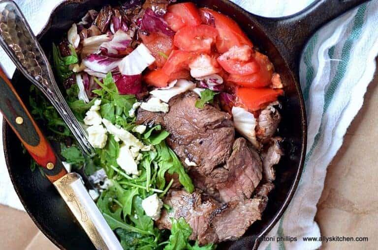 warm skillet steak salad