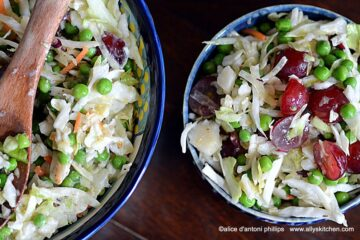 coleslaw peas grapes yogurt dressing