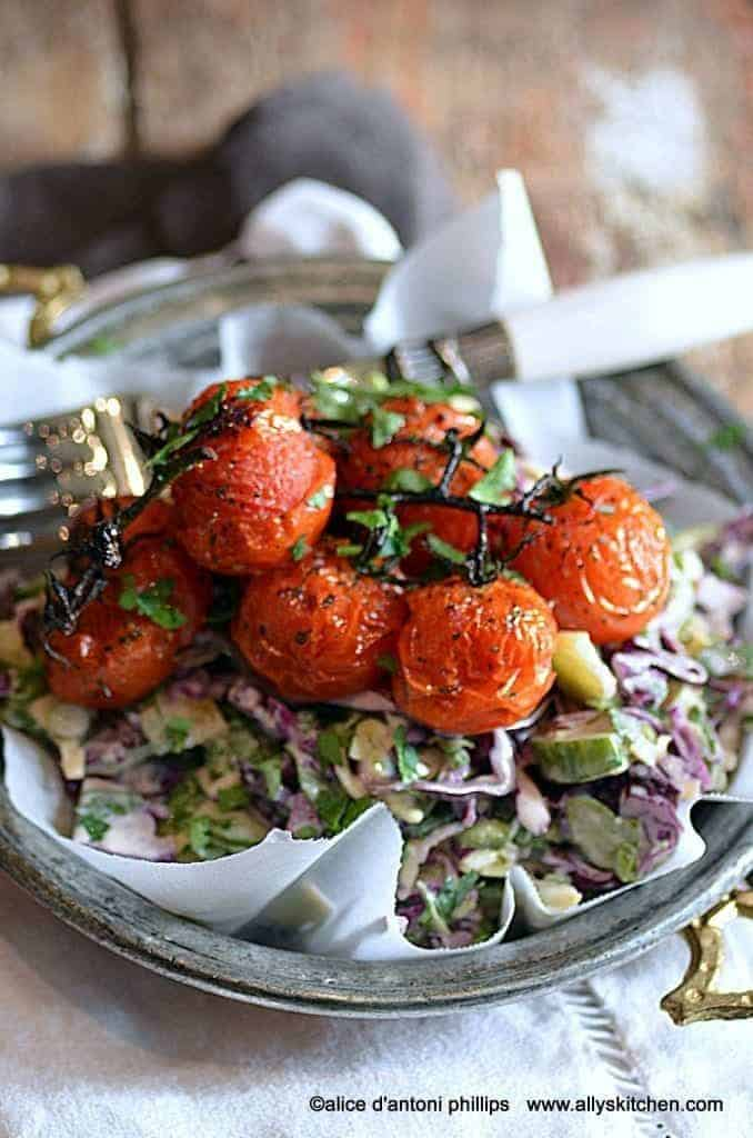 purple cabbage salad & roasted tomatoes