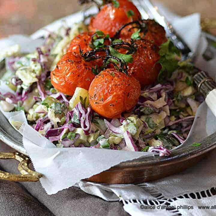 purple cabbage salad & roasted tomatoes