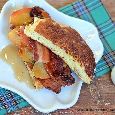 pancake peppered bacon apple sandwich