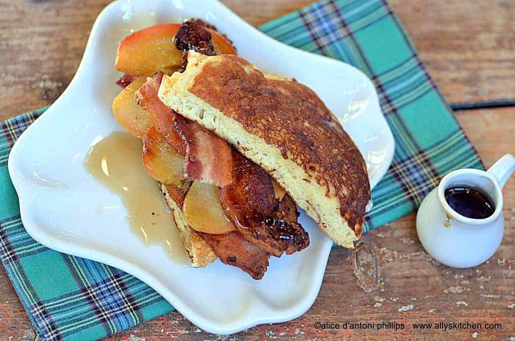 pancake peppered bacon apple sandwich