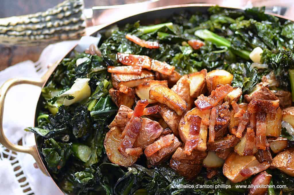 rainbow kale roasted potatoes bacon & maple syrup