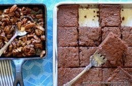 chocolate cream cheese sheet cake with bourbon brown sugar pecans