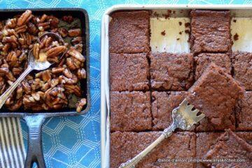 chocolate cream cheese sheet cake with bourbon brown sugar pecans