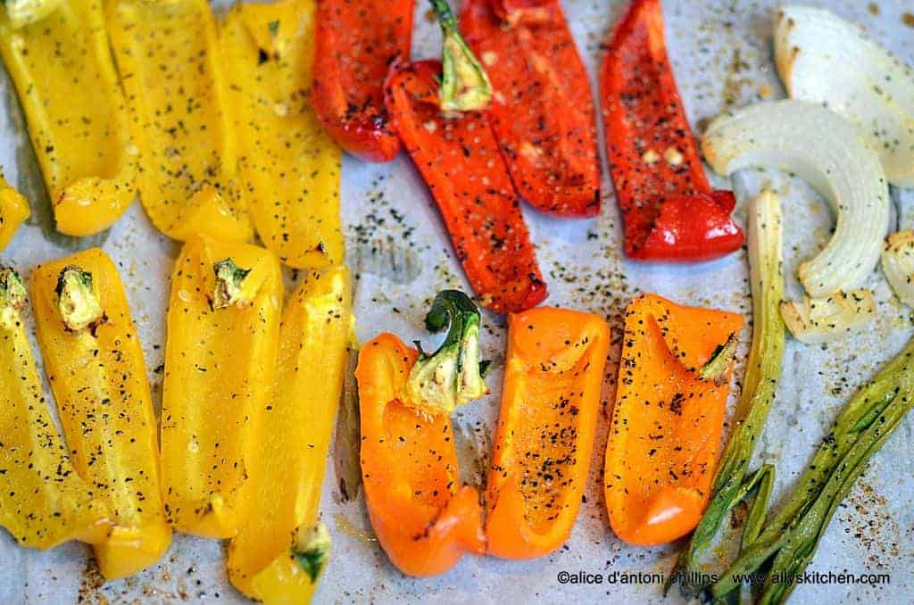 roasted peppers and onions with parsley