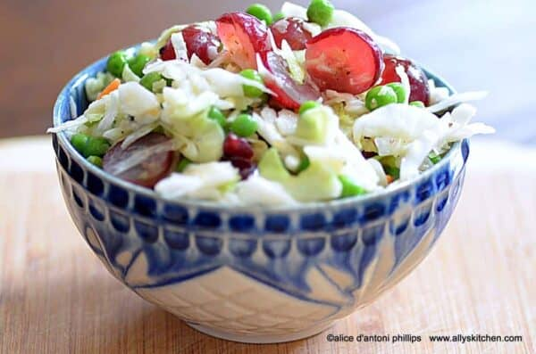 balsamic pea grape coleslaw with bleu cheese crumbles
