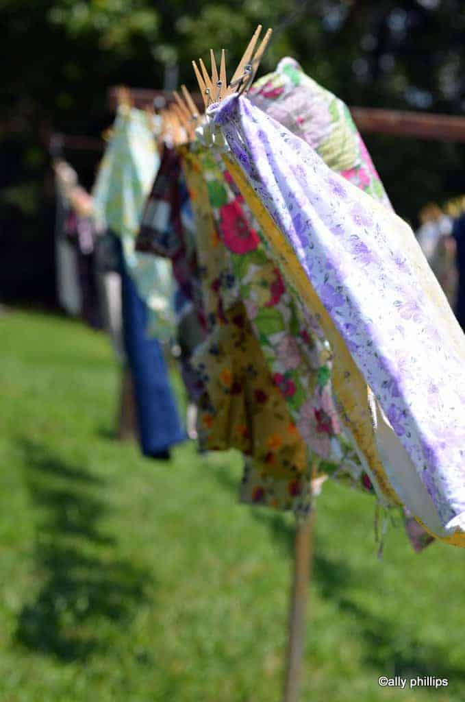 Various items of clothing on the line - the clothesline talks