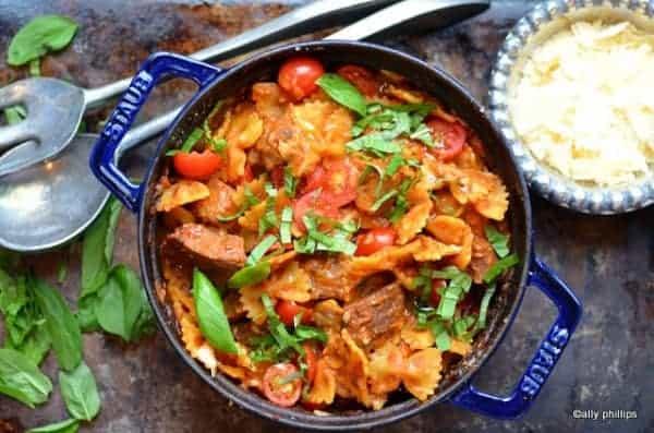 sriracha steak bites and pasta