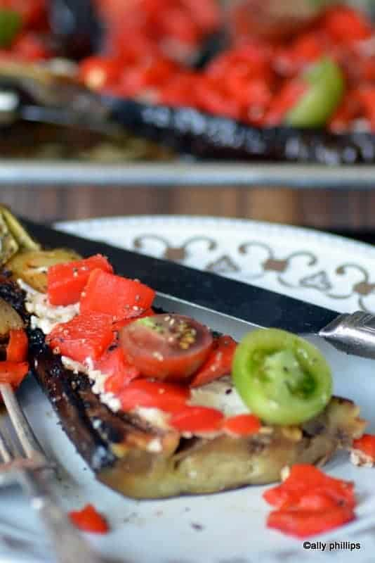harissa eggplant & roasted red peppers