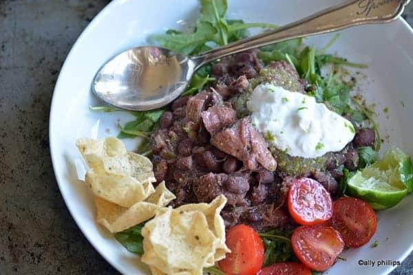 salsa verde latin red beans & pork