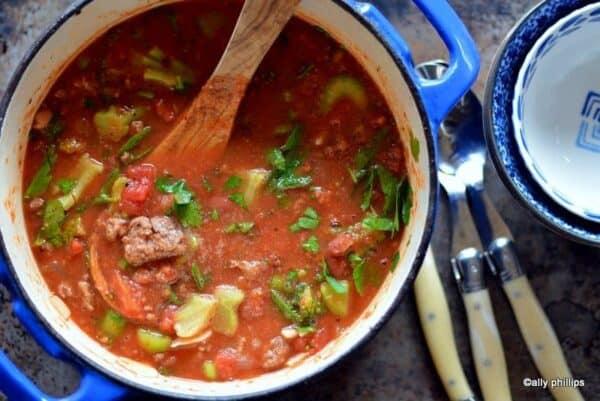 grilled hamburger sriracha soup