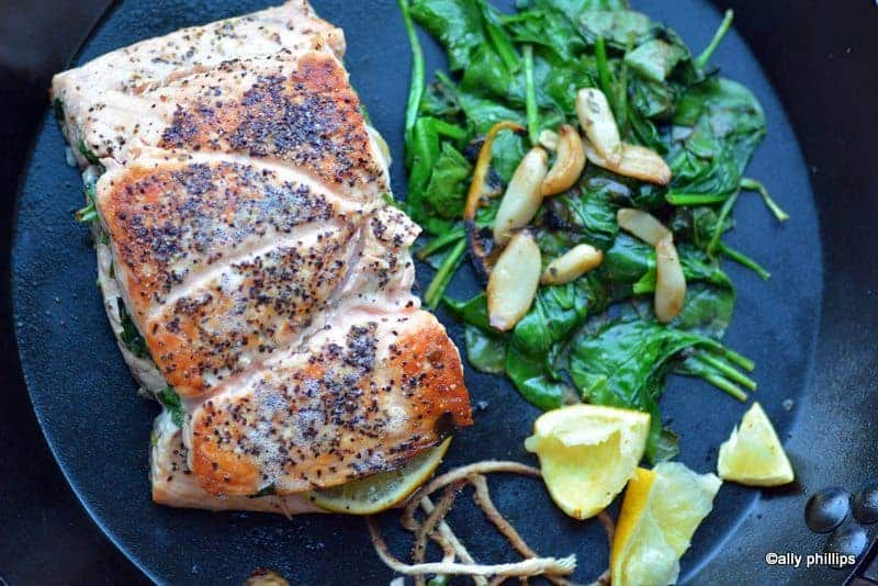 spinach lemon stuffed salmon