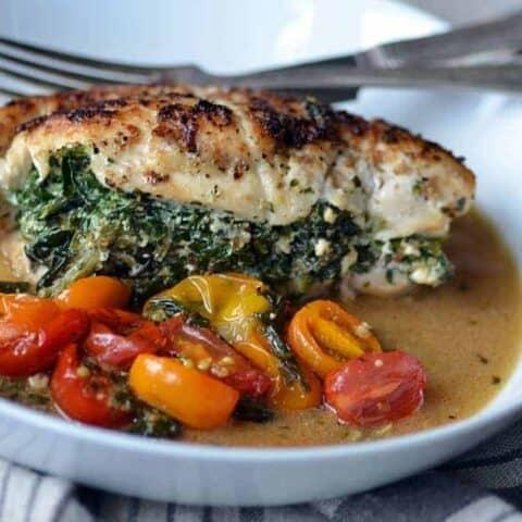 skillet stuffed chicken with spinach & ricotta