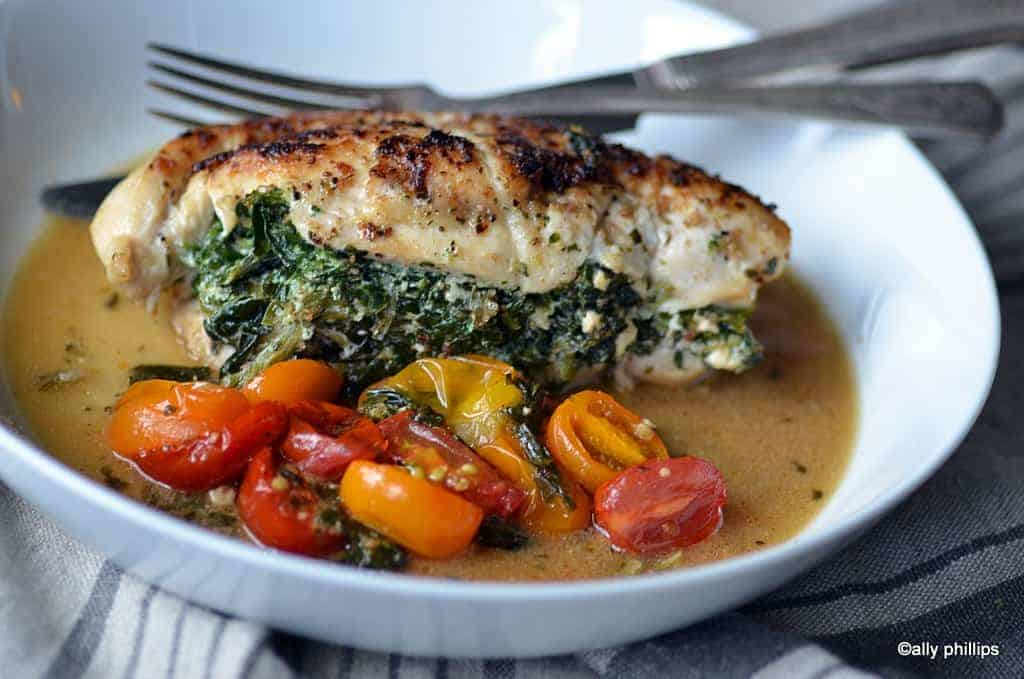 skillet stuffed chicken with spinach & ricotta
