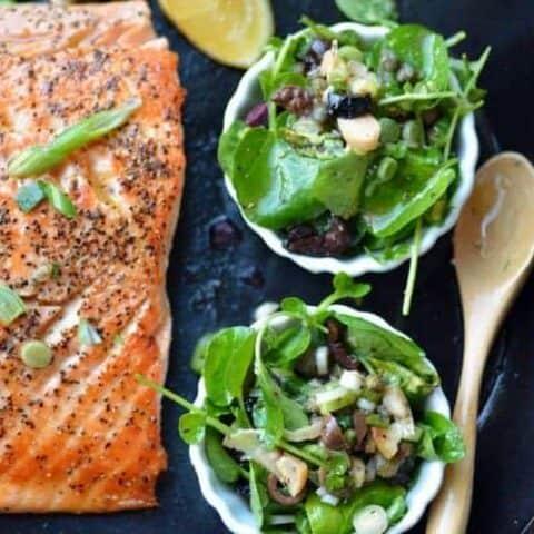 salmon with watercress scallion caper vinaigrette topping
