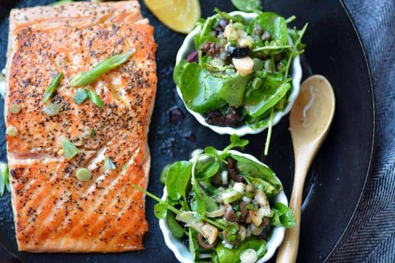 salmon with watercress scallion caper vinaigrette topping