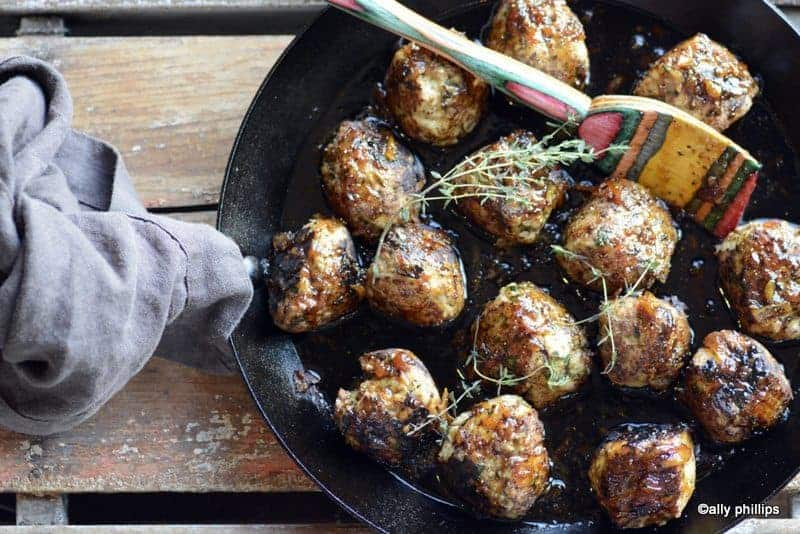 cashew chicken meatballs & orange ginger sauce