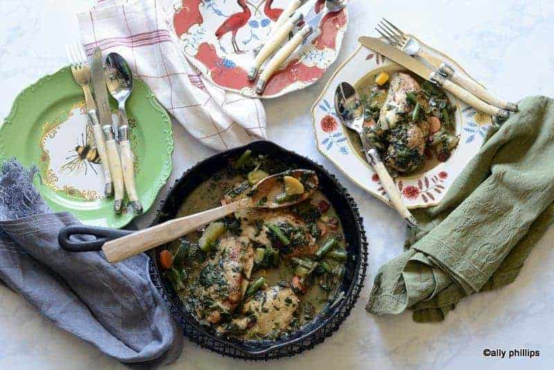 Chicken In Onion Wine Sauce With Farm Vegetables