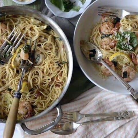 30 minute lemon shrimp pasta