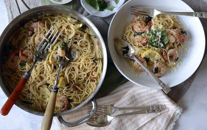 30 minute lemon shrimp pasta
