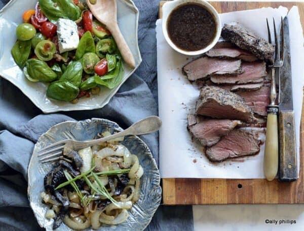 pepper encrusted bison tenderloin & grilled onions