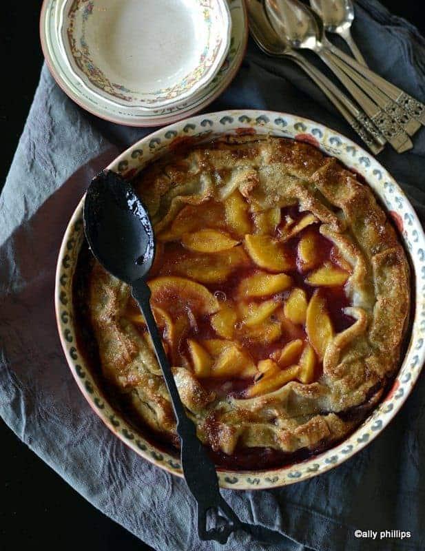 rum coconut liqueur ribbon peach pie