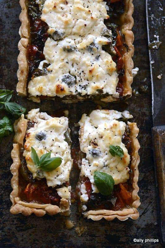 roasted tomato onion pie