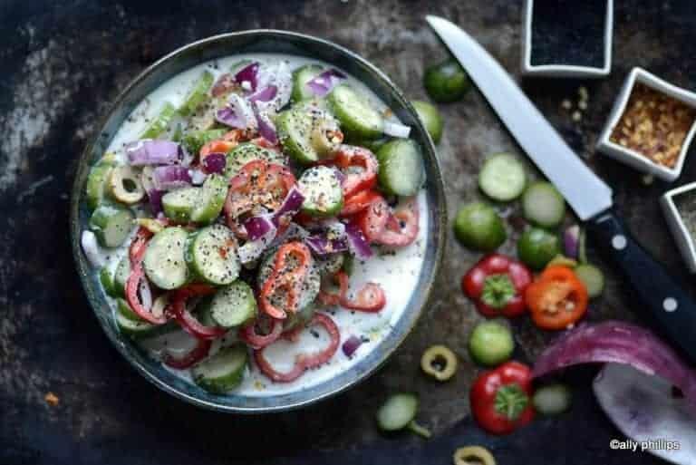 Crunchy Veggie & Olive Buttermilk Salad