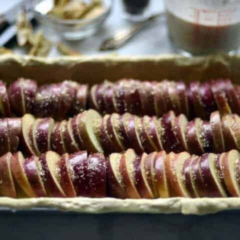 apple fig custard open faced pie