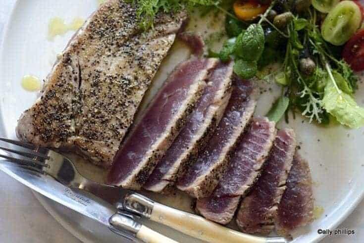 pan seared fresh tuna steak