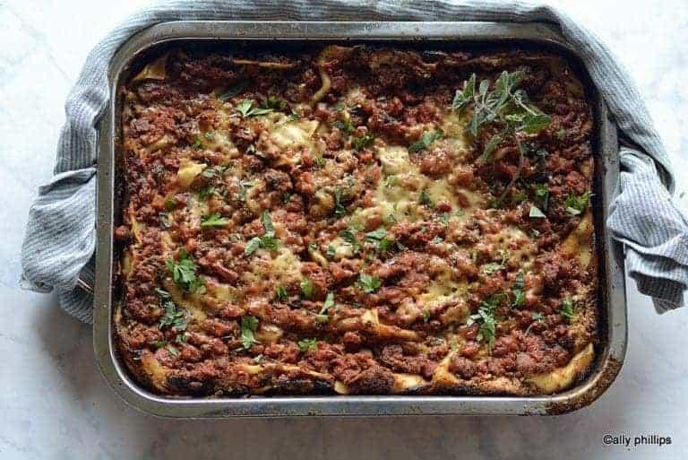three layer meaty lasagna