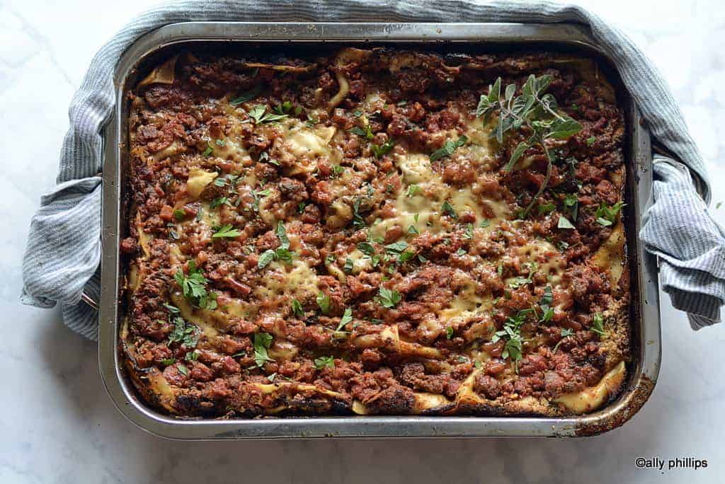 three layer meaty lasagna
