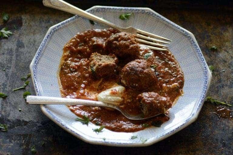 Pesto Meatballs and Marinara Sauce