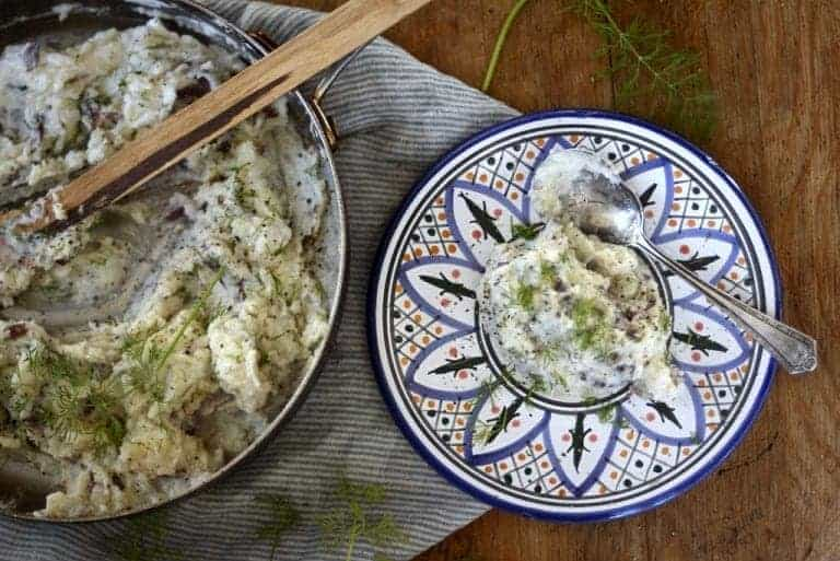 Mashed Red Potatoes and Fresh Dill