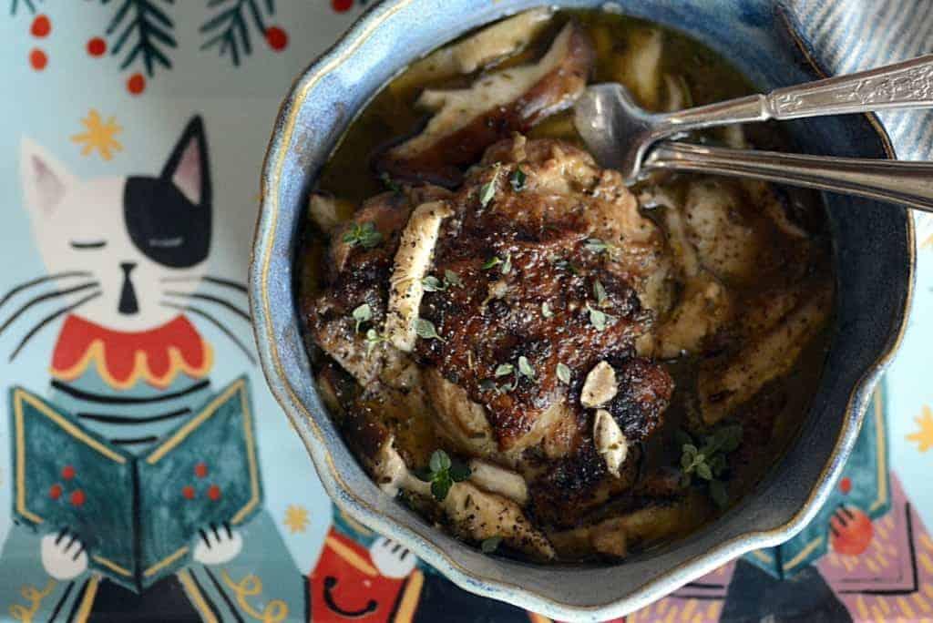 rustic Italian chicken shitake mushroom pot