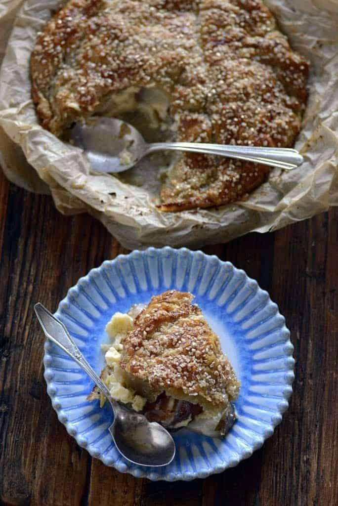 fresh pear custard upside down pie