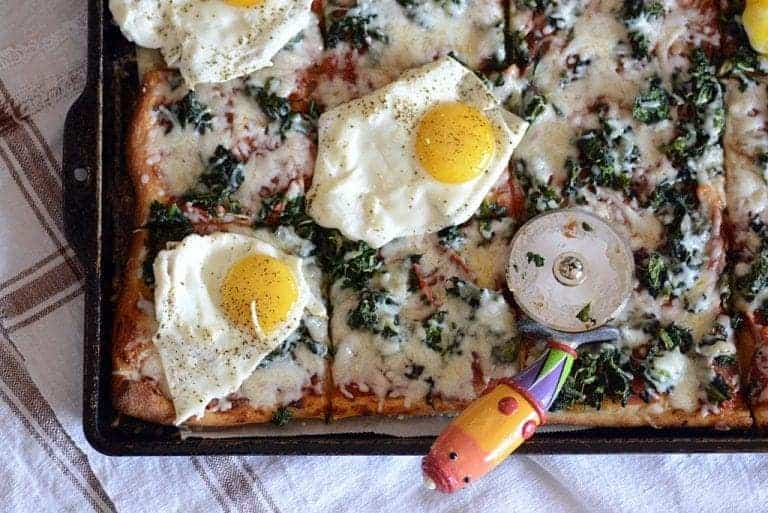 Breakfast Spinach Pizza