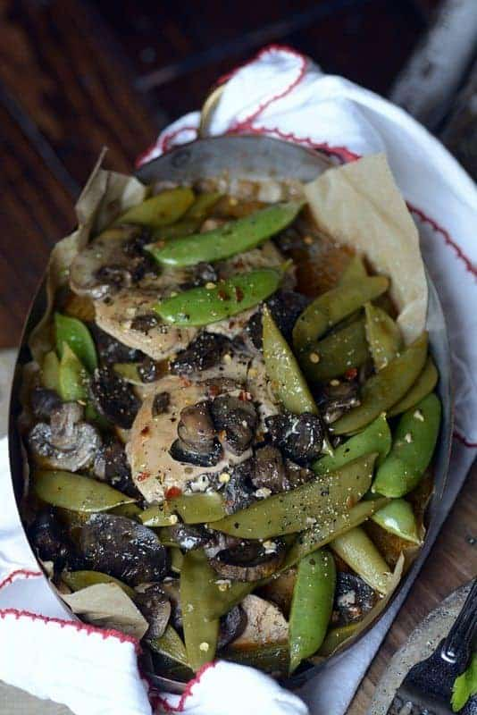 slow cooker chicken marsala and sugar snap peas