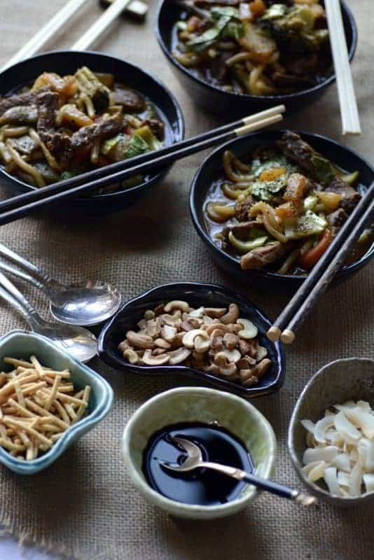 korean spicy sweet beef udon noodle bowl